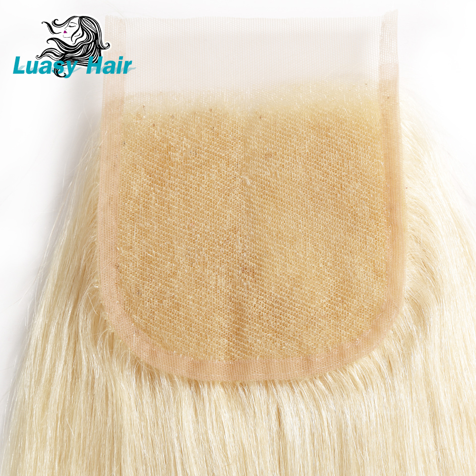 Luasy Peruvian Straight Remy Hair 613 Blonde Human Hair Bundles With Closure 4x4 Lace Closure With Blonde Hair Weave 3 Bundles