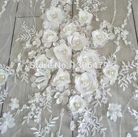 White Wedding Dress Lace Fabric 3D Chiffon Flowers Nail Bead High End European Lace Fabric Free