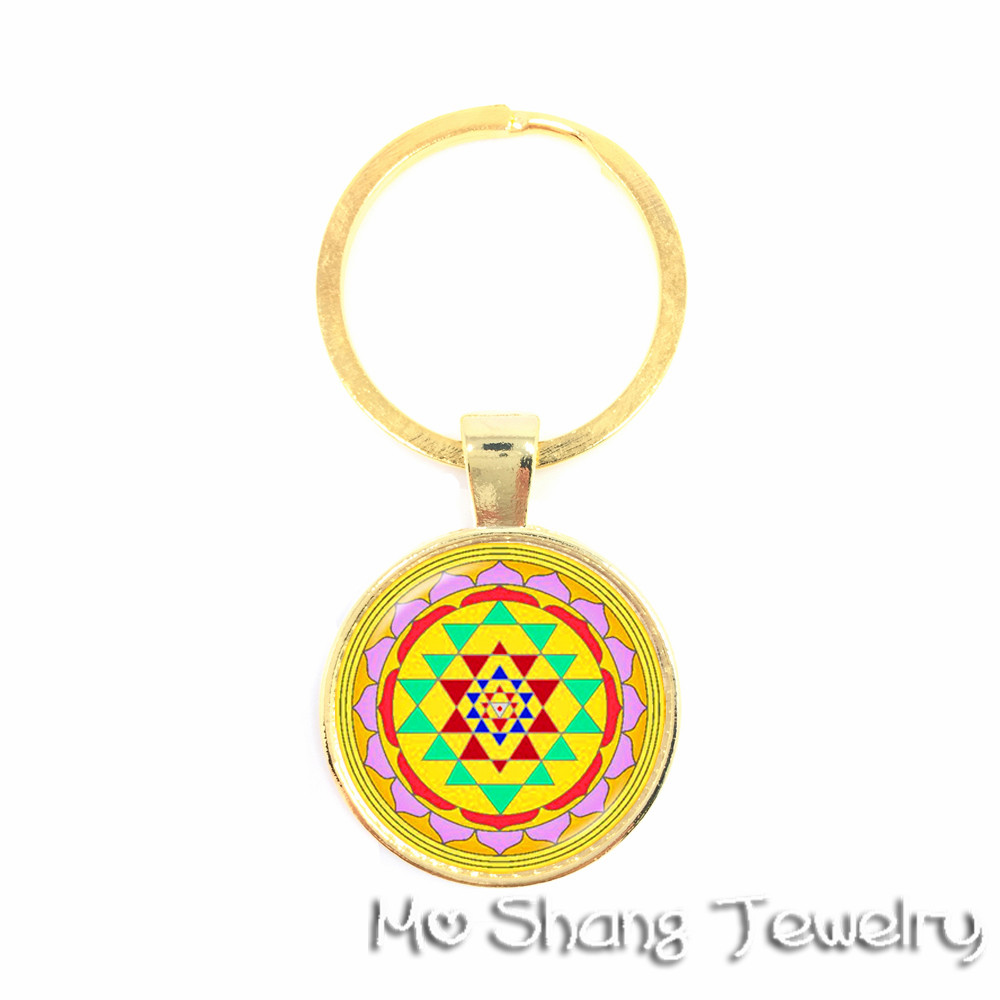 The Born Lucky Religious Mandalas OM Yoga Key Chain Glass Jewels Sacred Geometric Golden Flower Great Gift