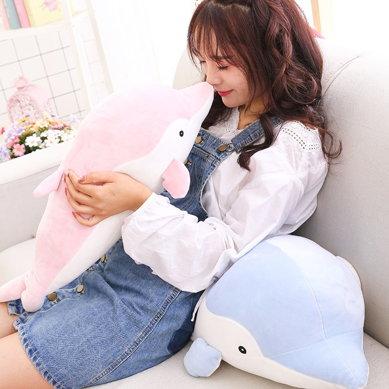 Kawaii Stuffed Doll 50/70cm Dolphin Plush Toys Soft Throw Pillow Toys Cushion for Children Birthday Gift Girls Christmas Gifts
