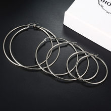 E090 Oversize Big Circle Hoop Earrings Set For Women Simple Punk Style Brincos Round Earrings Party Jewelry Gift(China)