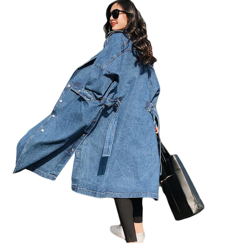 2018 Spring Women Jeans   Trench   Coat X-Long Women Denim Coat Loose Windbreaker Female Overcoat With Belt Casaco Feminino CM244