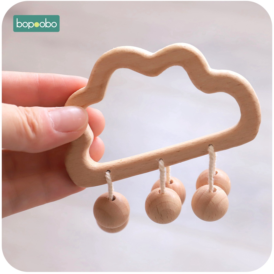 Bopoobo 1PC Baby 16mm Wooden Beads Rattle Infant Toys Crib Bed Bell Stroller Newborn Organic Wood Rattle Stroller Accessories