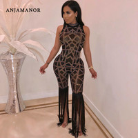 ANJAMANOR Tassel Mesh Rhinestone Sexy Bodycon Jumpsuit Romper Women Transparent Sparkly Party Club One Piece Outfits D52 AI91