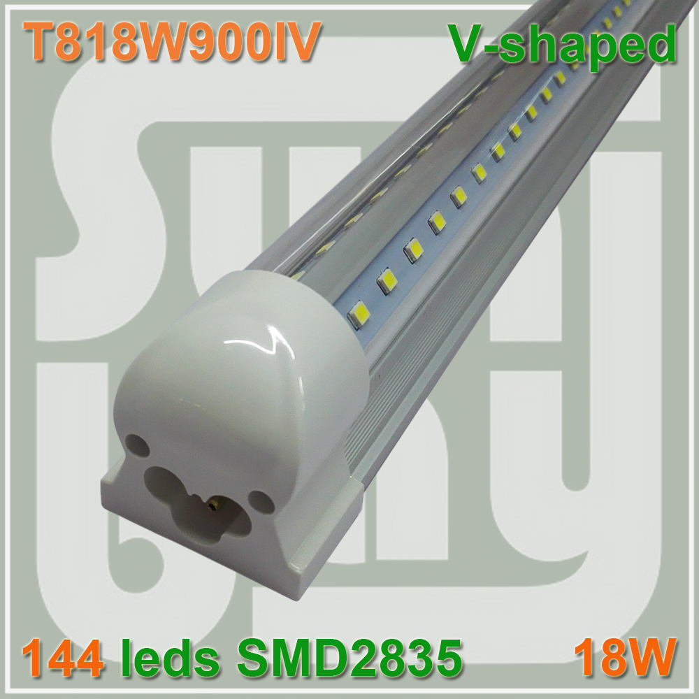 ФОТО Free shipping V-shaped T8 Integrated Tube bulb light 3ft Cooler Door 18W 85-277v Double Sides SMD2835 with accessory 270 angle