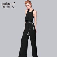 POKWAI 2017 Summer New Sexy Jumpsuits O Neck Full Length Pants Loose Britches Rompers