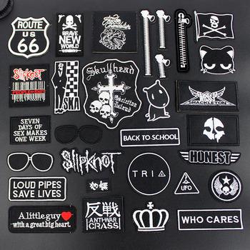 Moda Punk seksowna czarna naszywki na odzież naklejki naprasowane ubrania łatki w formie znaczków DIY kurtka dżinsy hafty tanie i dobre opinie Bobitree as photo HANDMADE Ekologiczne Haftowane Plastry Iron-on D01818