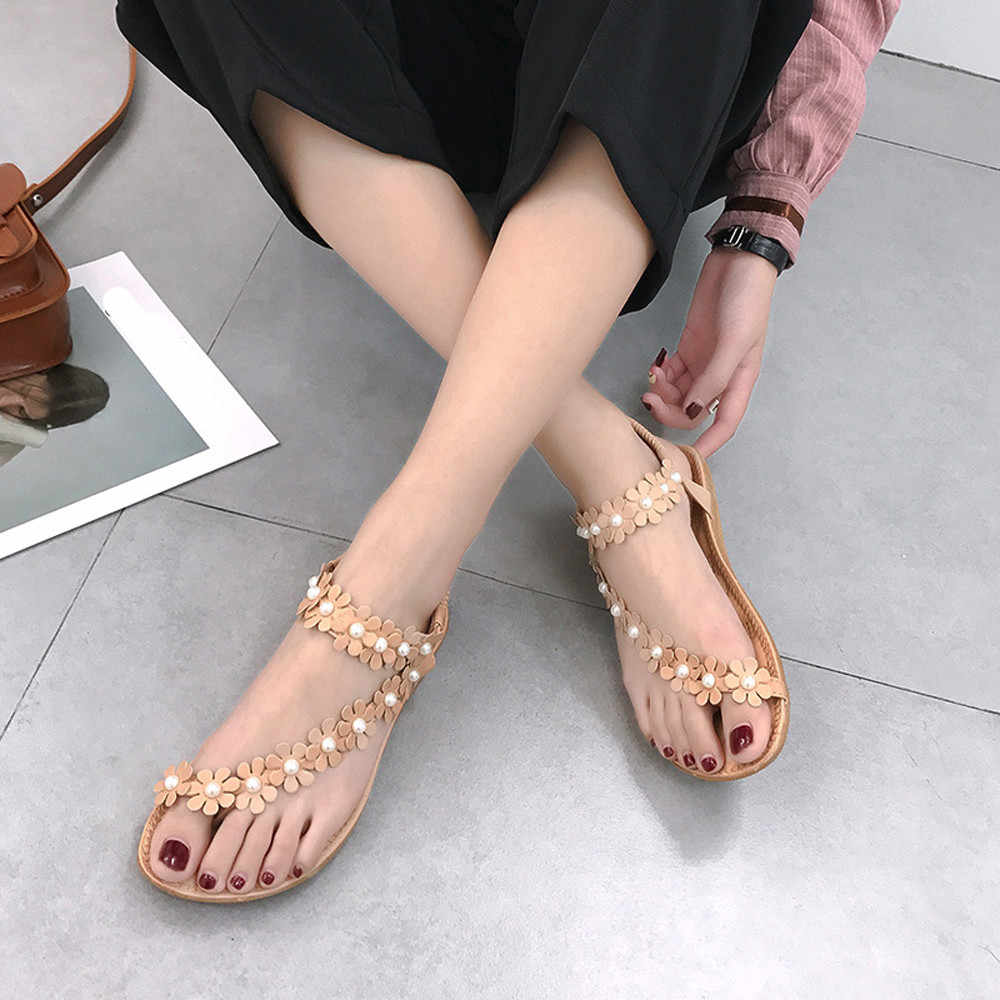 07c0d72cde00c3 zapatos mujer tacon Women Summer Bohemia Flower Beads Flip-flop Shoes Flat  Sandals zapatillas mujer