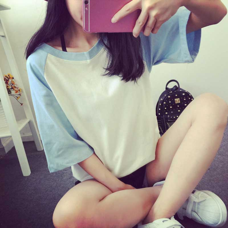 plus size 2019 summer Korean version loose short-sleeved women tees   shirt   cotton black blue pink solid women   t     shirt   clothing