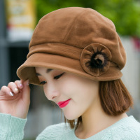 Mother Gift Female Winter Headwear Lady Fashion Flower Beret Hats Women Top Quality Wool Newsboy Caps