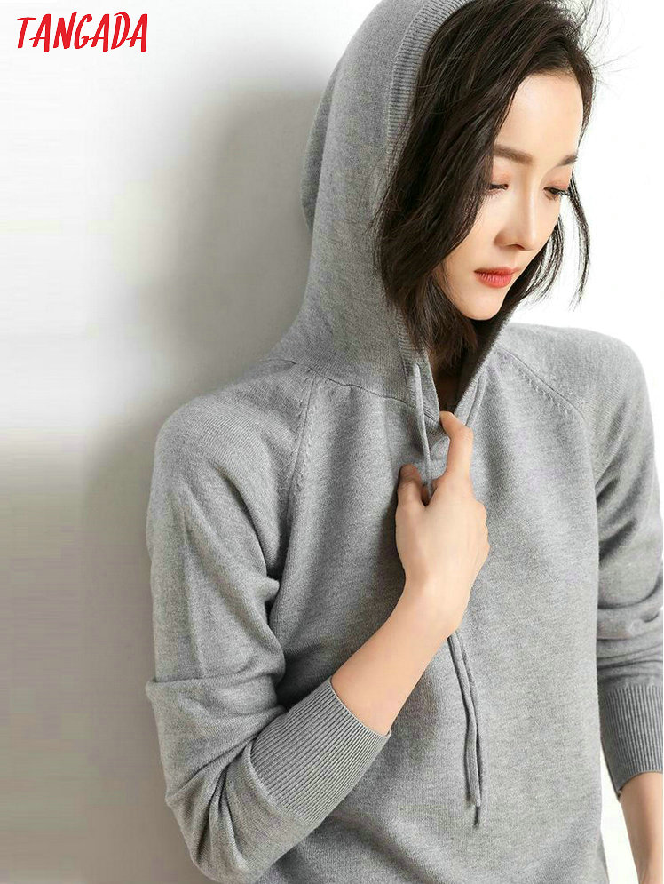 Tangada fashion woman solid hooded sweater female long sleeve korean chic soft jumpers sweater ladies pull femme AQJ01 13