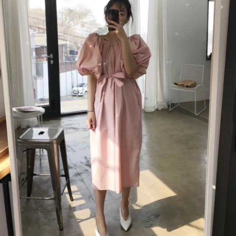 LANMREM 2020 New Fashion Casual Loose Large Size Solid Color Collar Strapless Lantern Sleeves Women's ClothingTC034