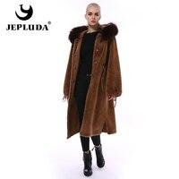 JEPLUDA Elegant Warm Real Fur Coat Women Winter Real Fox Fur Hooded Natural Wool Blends Coat Long Sheep Fur Coat Real Fur Jacket