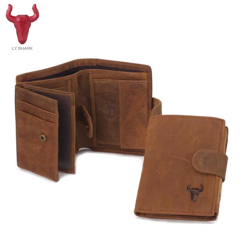 LY.SHARK Genuine Leather Men Wallet Coin Purse Card Holder Zipper Small Clutch Bags Organizer Dollar Price Walet Money Bag purse