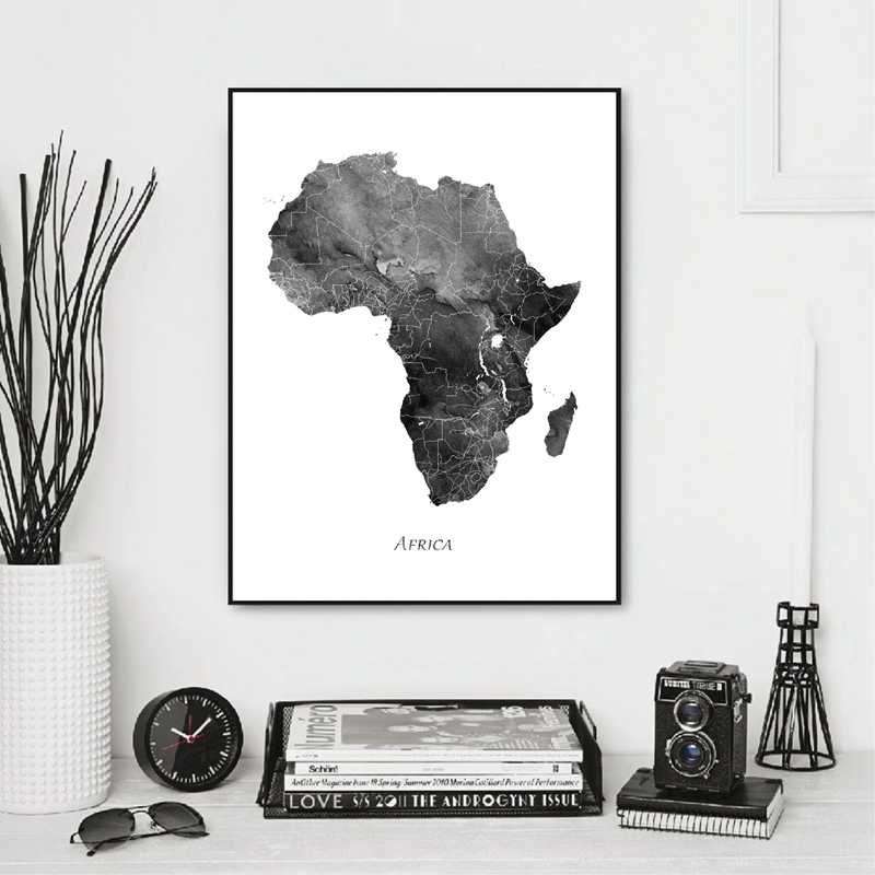 Africa Map Posters and Prints Watercolor Map Travel Wall Art Canvas Painting Grey Black White Picture for Living Room Home Decor
