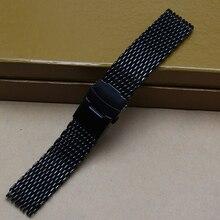 Negro 18mm 20mm 22mm 24mm Ancho de Banda Reloj de Pulsera Banda de Malla correa de Pulsera Para Mujer Para Hombre con cierre Desplegable de seguridad y pulsador
