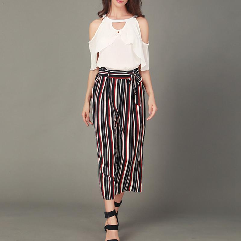 Simple Striped Wide Leg   Pants     Capri   High Waist Loose Casual Bottom   Pants   Women Autumn Trousers Ladies OL Casual Elegant   Pants
