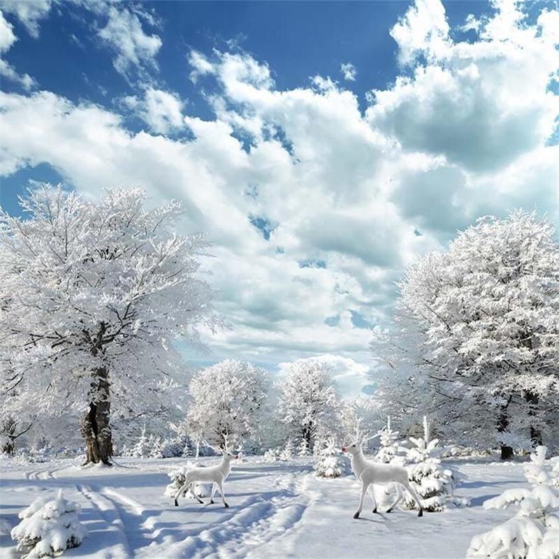 Beibehang Musim Dingin Yang Indah Pemandangan Salju HD Rusa Ruang