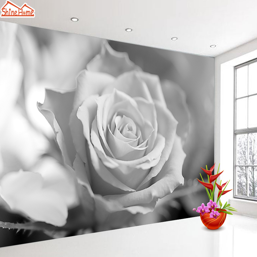 ShineHome-Grey Rose Flower 3d Wallpapers For 3 D Living Room Dinning Kids Photo Wall Paper Mural Rolls Wallpaper Home Decoration