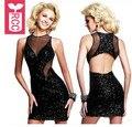 RCC Drop ship 2016 Womens sexy Club Mesh splicing Sequins backless dress Girls sleeveless slim tight racerback bodycon