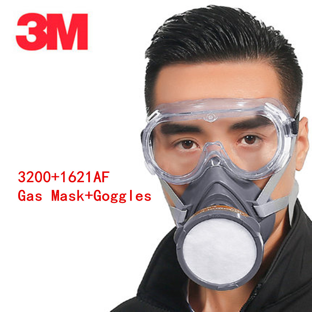 3M 3200 Respirator Gas Mask  with 3M1621AF Goggles Set Genuine Against Organic Steam Painting Pesticide Protective Mask Siut 3m 6200 6005 respirator gas mask genuine security 3m protective mask against formaldehyde organic vapor gasmaske