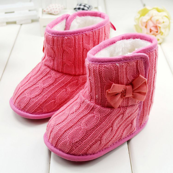 Toddler Children Snow Boots Baby Shoes Infant Knitted Bowknot Crib Shoes Warm Winter