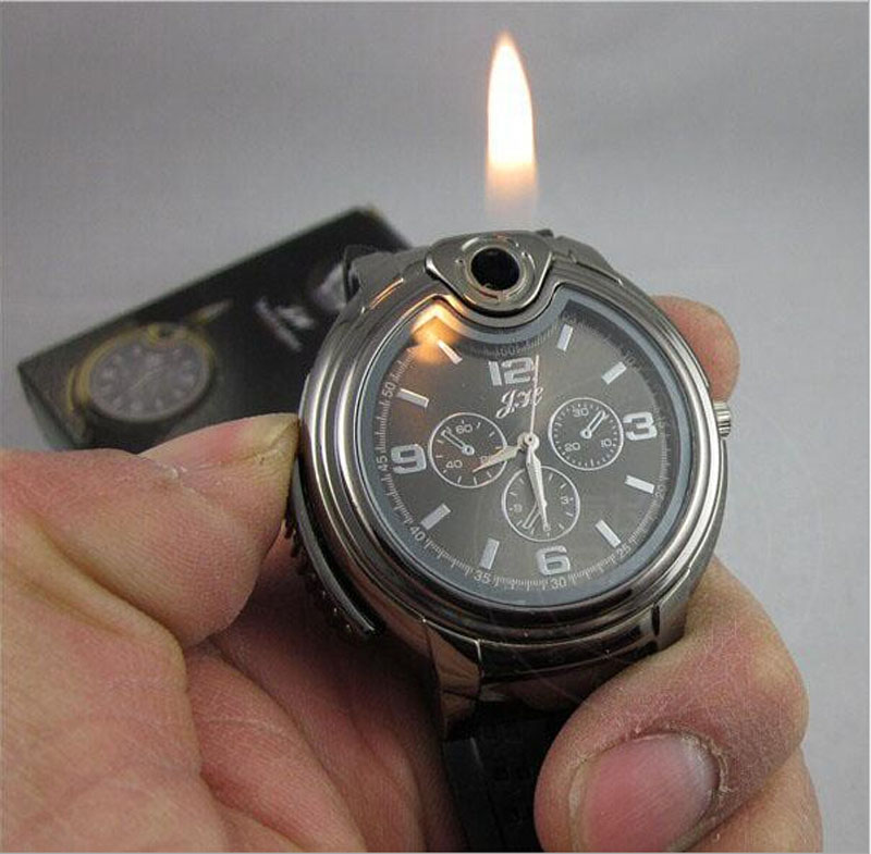 Watches Men Relogio Luxury Quartz Military Lighter Watch Men Quartz Refillable Butane Gas Cigar Watches Bracelet Clock 2018