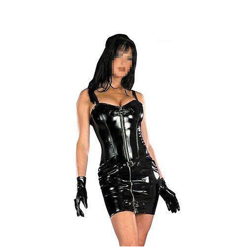 Hot Sale Top Toughness PVC Læder Latex Bondage Mini Kjole Ærmeløs Bodycon PU Vinyl Clubwear Dance Fetish