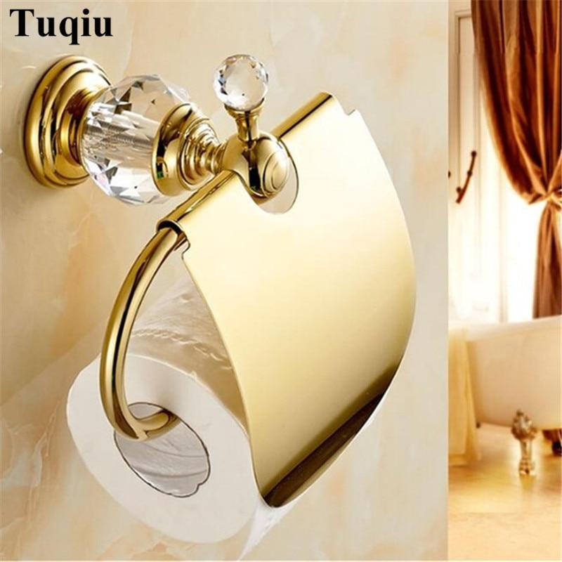 Suportes de Papel Rolo de Papel Suporte de Papel Acessórios do Banheiro Cristal Latão Ouro Chrome Higiênico Titular Tecido Banheiro – Mod. 1353375