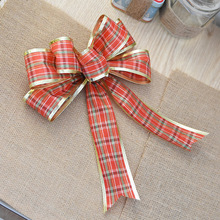 4f6c3bf2285c9 25cm Scots Tartan Pattern Gold Edge Red Ribbon Christmas Tree Bows for  Christmas Tree Decoration Gift Wrap Packaging