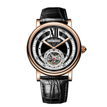 Reef Tiger/RT Luxury Watches for Men Rose Gold Tourbillon Automatic Watches Genuine Leather Strap  RGA192 1