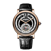 Reef Tiger/RT Luxury Watches for Men Rose Gold Tourbillon Automatic Watches Genuine Leather Strap  RGA192