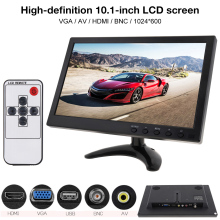 цена на 10.1 Inch HD IPS TFT LCD Color Monitor Mini TV Computer 2 Channel Video Input Security Monitor with Speaker AV BNC VGA HDMI