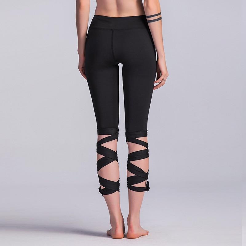 78db0cc18d2950 JIGERJOGER 2017 BLACK ROYAL BLUE ARMY GREEN ROSA PINK Bandage cross leggings  fitness yoga pant dance ballet band wrap legging-in Yoga Pants from Sports  ...
