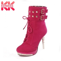 KemeKiss woman p483 high heel quality leather uppers stylish lady's dress casual shoes women's ankle boots size 34 39