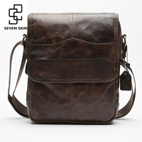 Top Genuine Cowhide Leather High Capacity Design Crossbody Shoulder Bag Men Messenger Bag Men Small Bag High Quality Leisure Bag