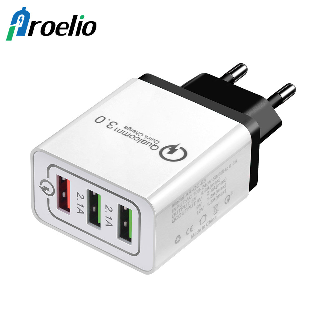 3 Ports Quick Charge 3.0 USB Charger Power Adapter for iPhone iPad Samsung Xiaomi LG HTC Mobile Phones QC3.0 Travel Fast Charger
