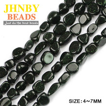 JHNBY Green sand stone Irregular Gravel Chips Loose beads L:39cm Natural Stone Jewelry bracelet making DIY accessories Wholesale()