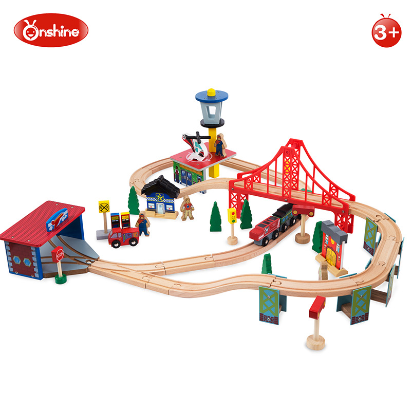 Onshine Brand 70pcs children train with track transportation wooden toys/ Kids baby vehicle diecast for boys'birthday gifts