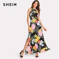 SHEIN Halter Neck Open Back Split Floral Dress Women Sleeveless High Waist Maxi Dress 2018 Summer