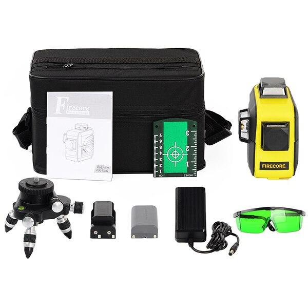 F93T-XR/F93T-XG 12 линий 3D литиевая батарея красный/зеленый лазерный уровень+ приемник+ Магнитный кронштейн+ 3M штатив - Color: Green 3