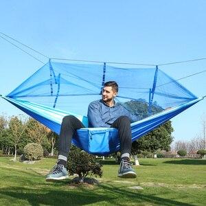 Image 3 - 屋外ハンモック蚊帳で保持することができ 300 キロ超強力ぶら下げ Hamak ハイキングクライミング用旅行キャンプ Hamac