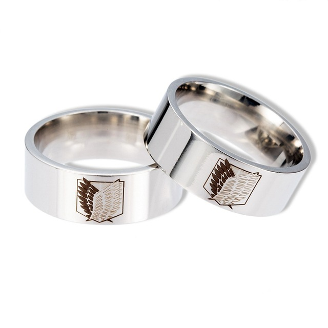 Attack On Titan Silver Giant Legion Flag Stainless Steel Ring