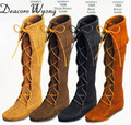 Free shipping female spring and autumn fashion Tassel Lace-up Nubuck Cow Leather Knee-high boots, women tassel Tall Boots 35-40