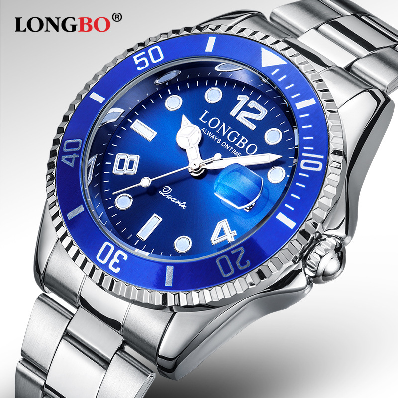 2019 New Man Top Brand Longbo Watch Men Sports Watches Rotatable Bezel Gmt Sapphire Glass Date Full Stainless Steel Watch Gifts