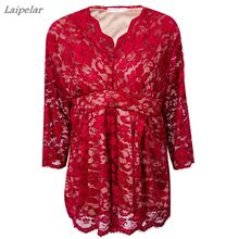 5XL Large sizes women clothing Summer Lace Half Sleeve Blouse 2018 V-Neck Sexy club Office Tops plus size