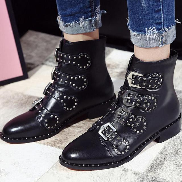 Genuine Leather Biker Boots Suede Pointed Flats Punk
