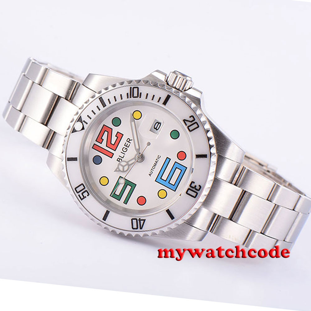 40mm Bliger white dial ceramic bezel date automatic movement unsex mens watch 46 цена и фото