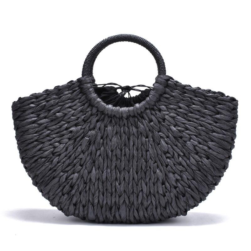 2018 neue Handgemachte Tasche Frauen Pompon Strand Weben Damen papier Stroh Tasche Gewickelt Strand Tasche Mond geformt Tasche
