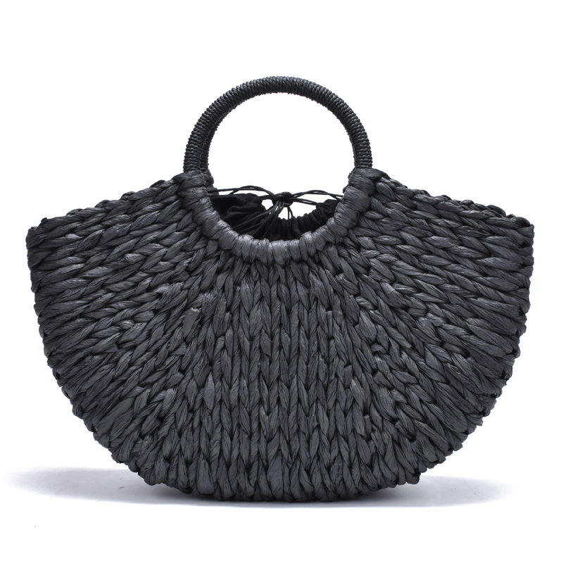 2019 New Handmade Bag Women Pompon Beach Weaving Ladies Paper Straw Bag Wrapped Beach Bag Moon Shaped Bag